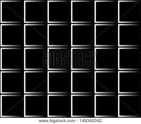Squares of black and white gradient. On a black background