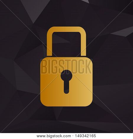 Lock Sign Illustration. Golden Style On Background With Polygons.