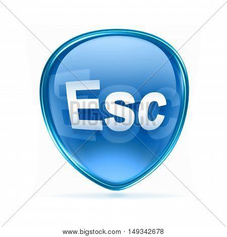 Esc Icon Blue, Isolated On White Background