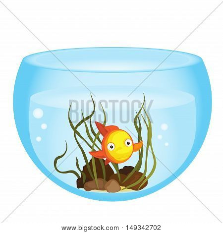 Cute cartoon goldfish in a bowl vector illustration.