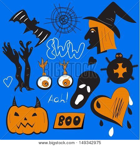 Quirky pin patches halloween. Set of vector holiday icons, badges, labels isolated. Hand-drawn doodles, witch, pumpkin, spider, eyeballs, spider webs, hat, hands ghost Collection of design elements