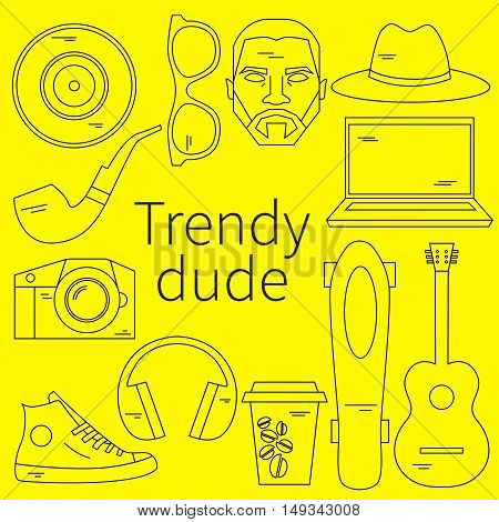 Trendy dude, hipster. Vector flat linear set icons. Men's modern fashion. Skateboard, photo camera, coffee, beard, moustache, guitar, coffee, pipe, cool guy with beard and mustache Urban lifestyle