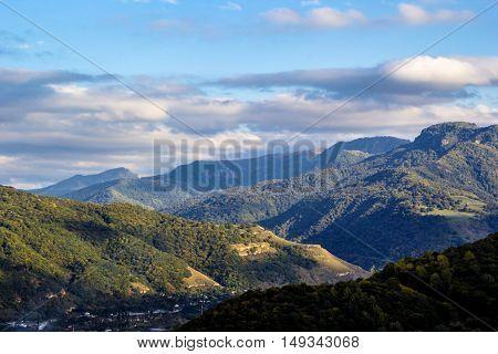 mountain landscape, hills, slopes, nature, cloudy sky