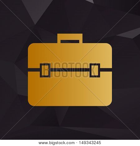 Briefcase Sign Illustration. Golden Style On Background With Polygons.
