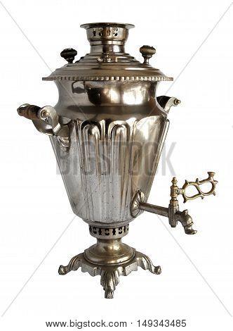 Vintage metal tea samovar isolated on white background