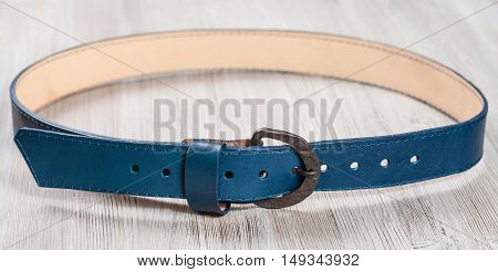 Blue Leather Belt With Forged Buckle