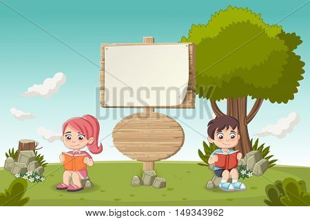 Wooden sign on colorful park with cartoon children reading books