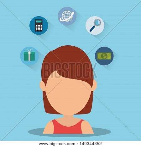 avatar woman with money and shopping icon set. colorful desing. vector illustration