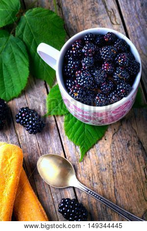 Cup Of Fresh Natural Blackberries With Biscuits