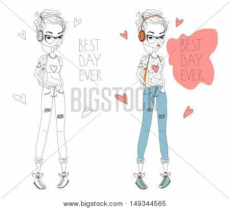 The Best Day Fashion Illustration Set with a Cute Shorthaired Girl and Lettering. Colorful and Sketch Fashion Print. Fashion Girl Illustration for Magazines, Blogs and T-Shirt Prints