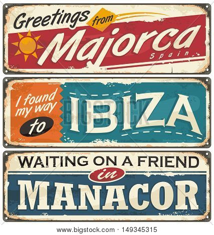 Summer vacation souvenirs from Spain. Majorca and Ibiza retro tin signs templates. Vintage postcard layouts with popular touristic destination in Spain.