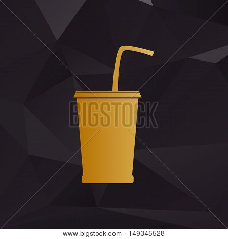 Drink Sign Illustration. Golden Style On Background With Polygons.