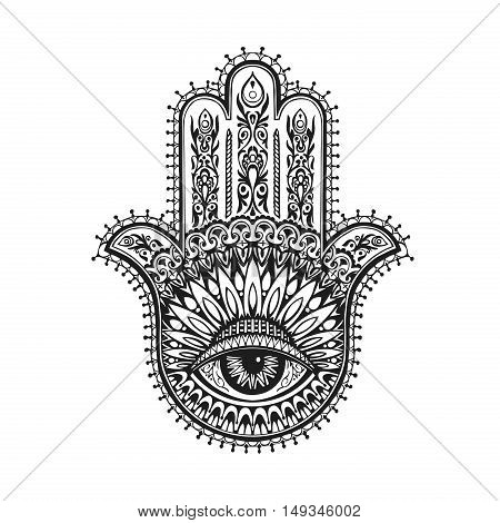Hand-drawn indian hamsa with ethnic ornaments. Vector illustration