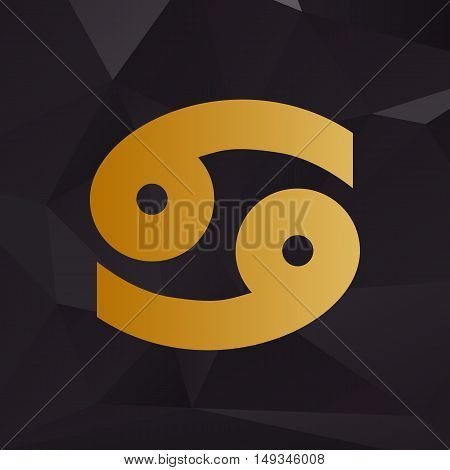 Cancer Sign Illustration. Golden Style On Background With Polygons.