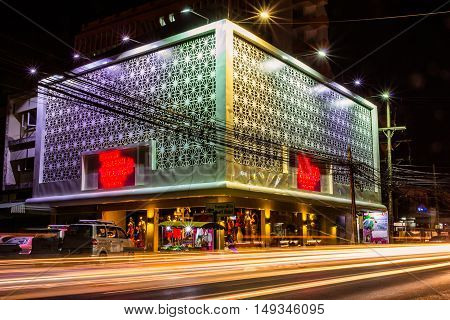 Phuket Thailand - Jan 29 2016 : Front view of modern style wedding studio in the night time at Phang-Nga road.