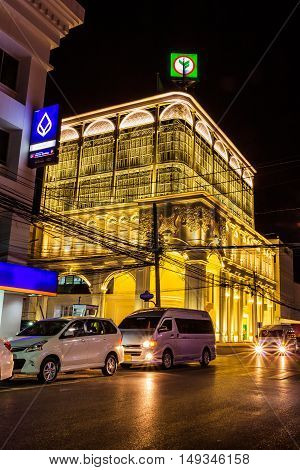 Phuket Thailand - Jan 29 2016 : Front view of Kasikorn bank in the night time with Sino-portuguese architectural style. It is well-known destionation for tourist as it is very beautiful.