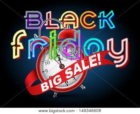 Red alarm clock concept - Black Friday Big Sale