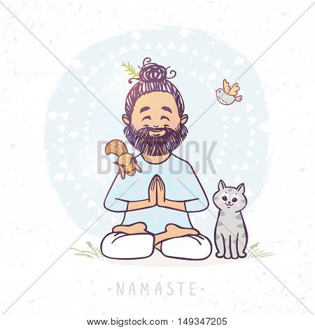 Character positive yoga man in greeting pose namaste with cute cat and squirrel . Vector illustration. Practicing Yoga