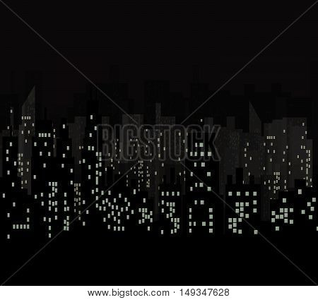 Night city vector illustration.Vector black Skyscrapers silhouette.Dark urban scape. Modern cityscape in flat style.Skyline abstract background.