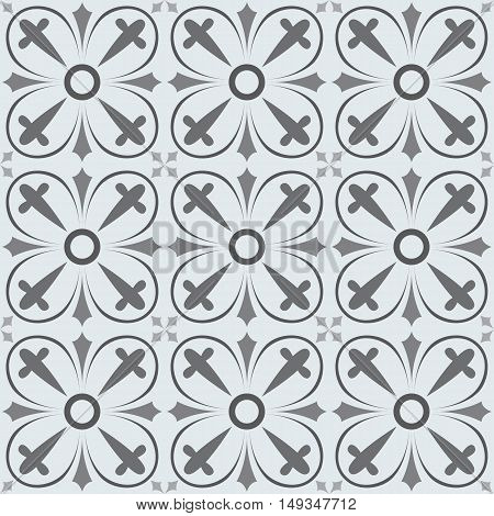 Vector seamless background in grey and white. Geometric ornament pattern with repeating elements.