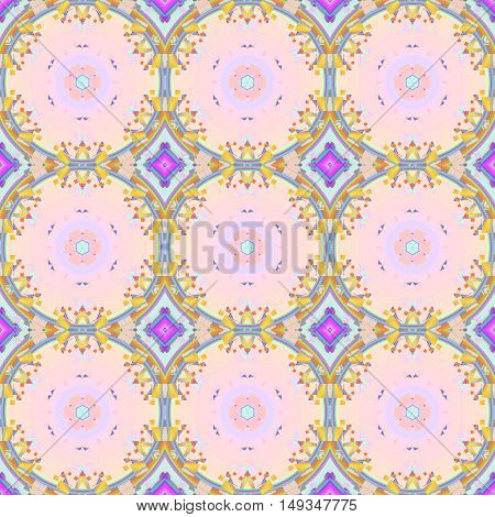 Abstract geometric seamless background. Regular circles and diamond pattern in yellow, pink and violet shades, ornate and dreamy.