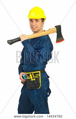 Handsome Worker Man With Ax
