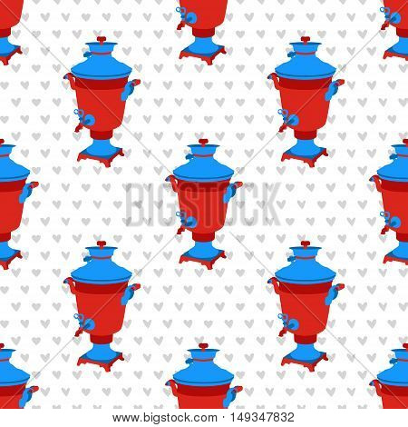 Moscow. vector seamless pattern with russian symbols. Modern graphic illustration with samovar