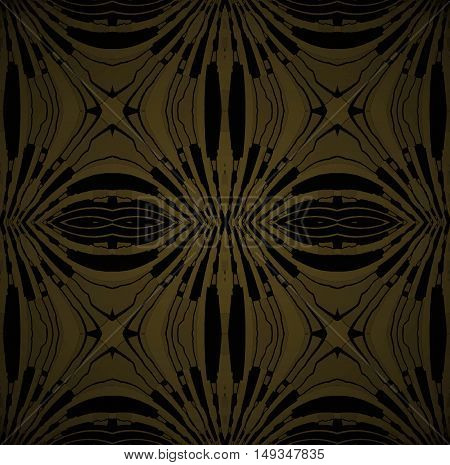 Abstract geometric seamless dark background. Regular symmetric ellipses ornament gold and black
