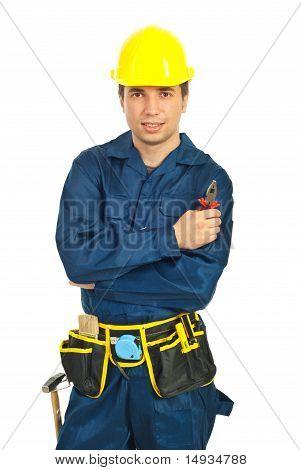 Portrait Of Worker Man Hold Pliers