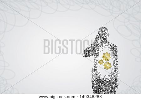 Drawn silhoutte of business person with gear mechanism inside