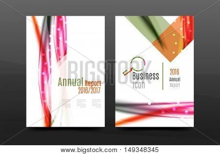 Wave pattern a4 annual report template, business corporate correspondence letter abstract background