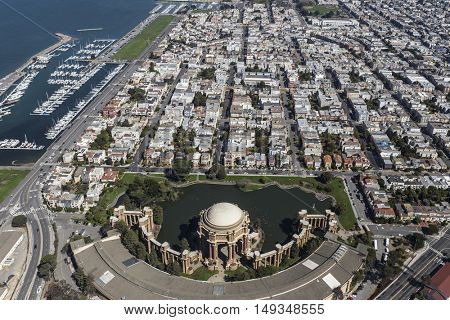 Aerial view of the Palace of Fine Arts Park in San Francisco, California.