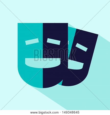 Vector flat stylize comedy mask icon. Isolated colored icon for logo web site design button app UI. Comedy mask illustration for posters cards book cover flyers banner web game designs.