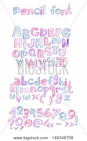 Hand drawn with color pencils abc letters sequence. Capital and lowercase letters numbers and punctuation marks. Hatched alphabet drawn in blue purple and pink colors in doodle style