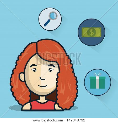 avatar woman smiling with money and shopping icon set. colorful desing. vector illustration
