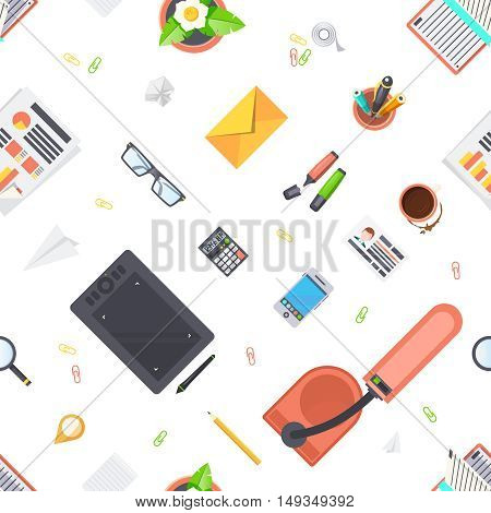 Workplace objects seamless pattern with stationery lamp and coffee flat isolated vector illustration