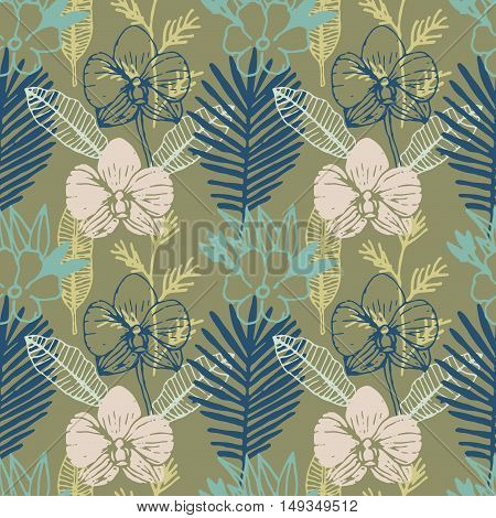 Tropical hand drawn seamless pattern with frangipani, palm leaves, orchid flower. Jungle forest with paradise flowers, natural floral colorful background. Vector illustration.