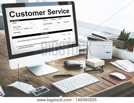 Customer Service Performance Data Application Form Concept