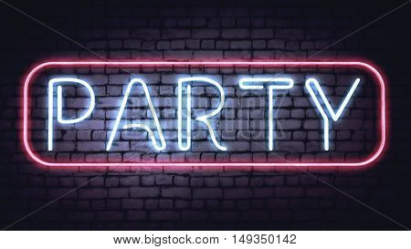 Neon PARTY sign on a white brick wall. Illustration.