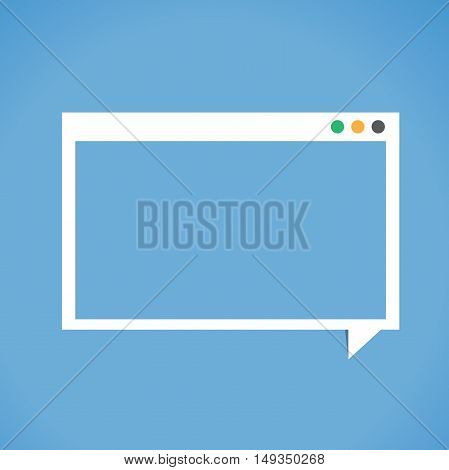 Window form screen, copyspace, design blank space, mock up, white square speech bubble on paper blue background.