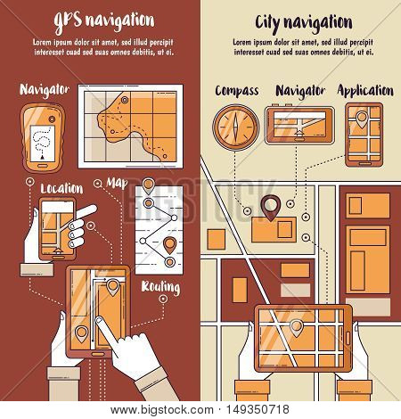 City navigation flat vertical banners with routing maps on screen of gadgets in people hands vector illustration