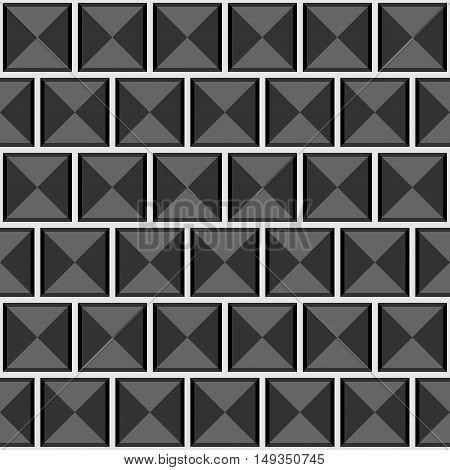 Abstract Geometric Seamless Gray Vector Pattern With Squares