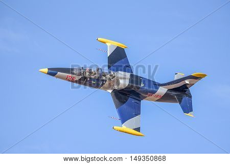 BLOEMFONTEIN SOUTH AFRICA - JULY 16 2016: An unidentified pilot in an Aero L-39 Albatros in a public display at the Tempe Airport at Bloemfontein