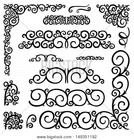 Hand drawn vintage decorative elements and ornamentscurls swirls wreath branches. Vector set collection doodle elements for design.