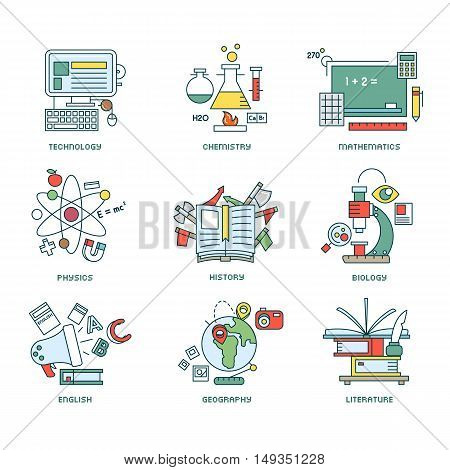 Set of nine line school concepts on white background
