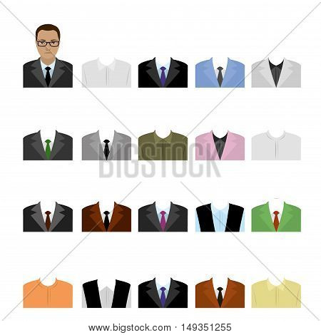 Set flat templates business suits, cartoon stock vector illustration