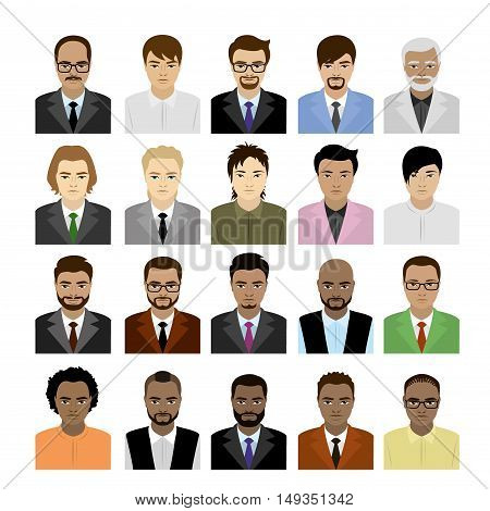 Big Set male faces of different races, avatar or icon isolated on white background, vector illustration