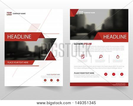 Red triangle Vector annual report Leaflet Brochure Flyer template design book cover layout design abstract business presentation template a4 size design