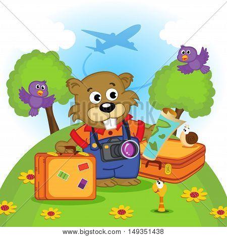photographer beaver traveler - vector illustration, eps