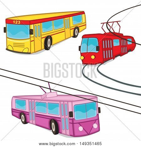trolleybus tram bus isolated - vector illustration, eps